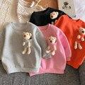 2020 Autumn Winter New Arrival Girls Fashion Bear T Shirt Kids Candy Color Warm Fleece Tops Kids Clothes