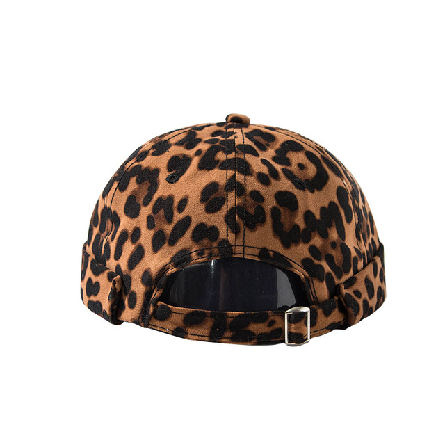 Mens Adjustable Leopard Brimless Hats