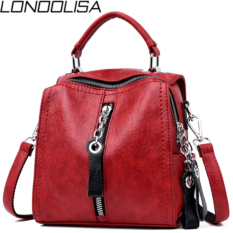 3-in-1 Womens Soft Leather Backpack Japan Style Back Pack Small School Bags For Teenage Girls Female Bagpack Mochilas Mujer 2019