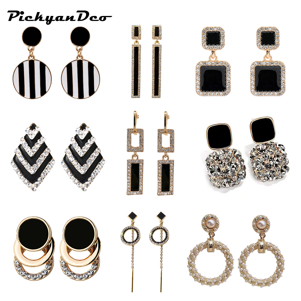 PickyanDco Geometric Circle Earring Long Round Stud Earrings for Women Accessories Big Ear Drops Black Crystal Earrings XC005