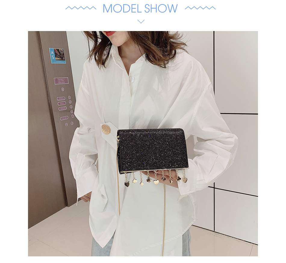Hdd6acf874cc14d839b2c207fd6f12626U - Women Sequin Glitter Evening Clutch Bag Ladies Sparkly Design Wedding Party Shiny Handbag Lady Chain Metal Shoulder Bag