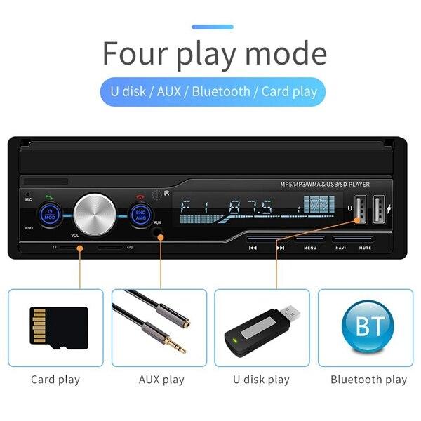 Radio de Audio estéreo para coche de 7 pulgadas 1 reproductor de MP5 Din con pantalla de prensa plegable receptor AM/FM Bluetooth GPS auxiliar USB SD SWC + una copia de seguridad Ca - 2