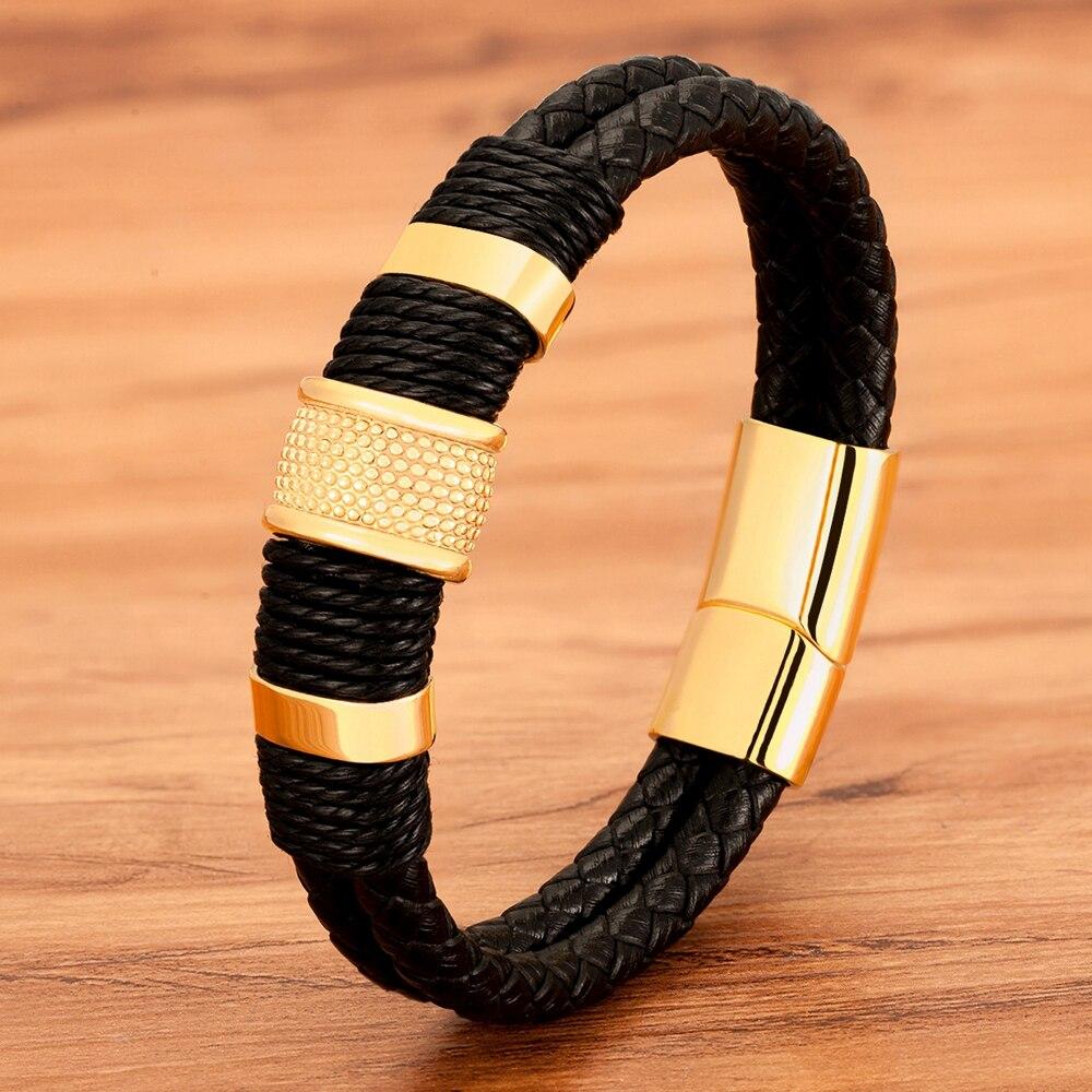 Pulsera Tejido de cuerda de cuero de acero inoxidable de los hombres