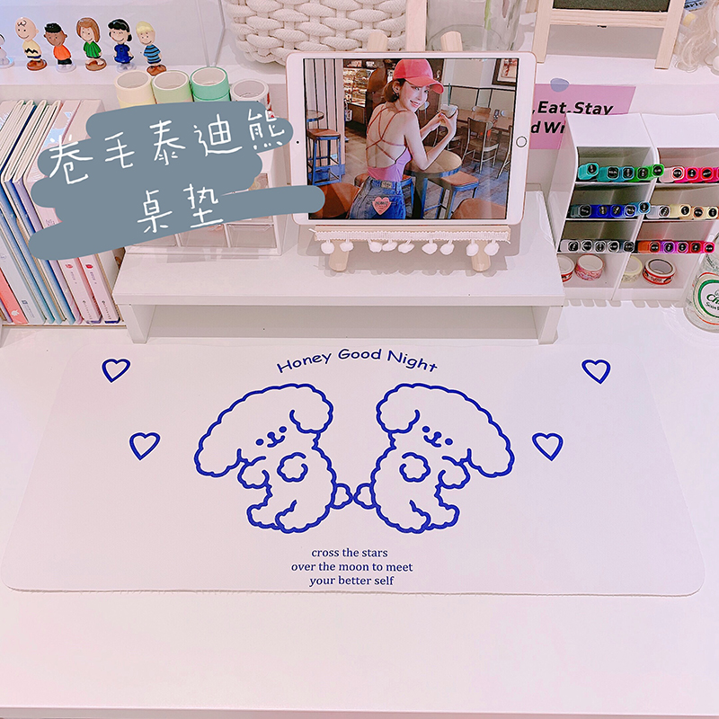 Hot Sale Cartoon Non-Slip Cute White Dog Smiley Placemat Waterproof Dining Table Mat PU Leather Plastic Tableware Pads