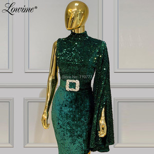 Image 2 - ดูไบสีเขียวเลื่อมชุดราตรี 2020 ที่กำหนดเอง Celebrity PARTY Robe De Soiree ซาอุดีอาระเบียสูงด้านข้างแบ่งเซ็กซี่พรหมชุด