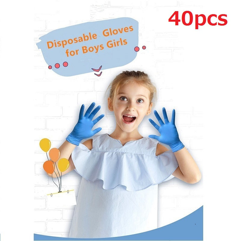 40pcs  Children Gloves Disposable Nitrile Glove For Kids Thickened Schooling Gloves For Left And Right Hands Gloves Blue
