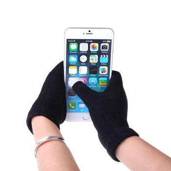 1 para Unisex zimowe ciepłe pojemnościowe rękawiczki robione na drutach ogrzewacz dłoni do ekranów dotykowych inteligentny telefon nowość tanie i dobre opinie Swokii COTTON Dla dorosłych Stałe Nadgarstek Moda