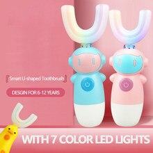 Tipo U ninos parágrafos cepillo de dientes electrico, con luz LED, Ultrasónico, automatico, limpieza de dientes