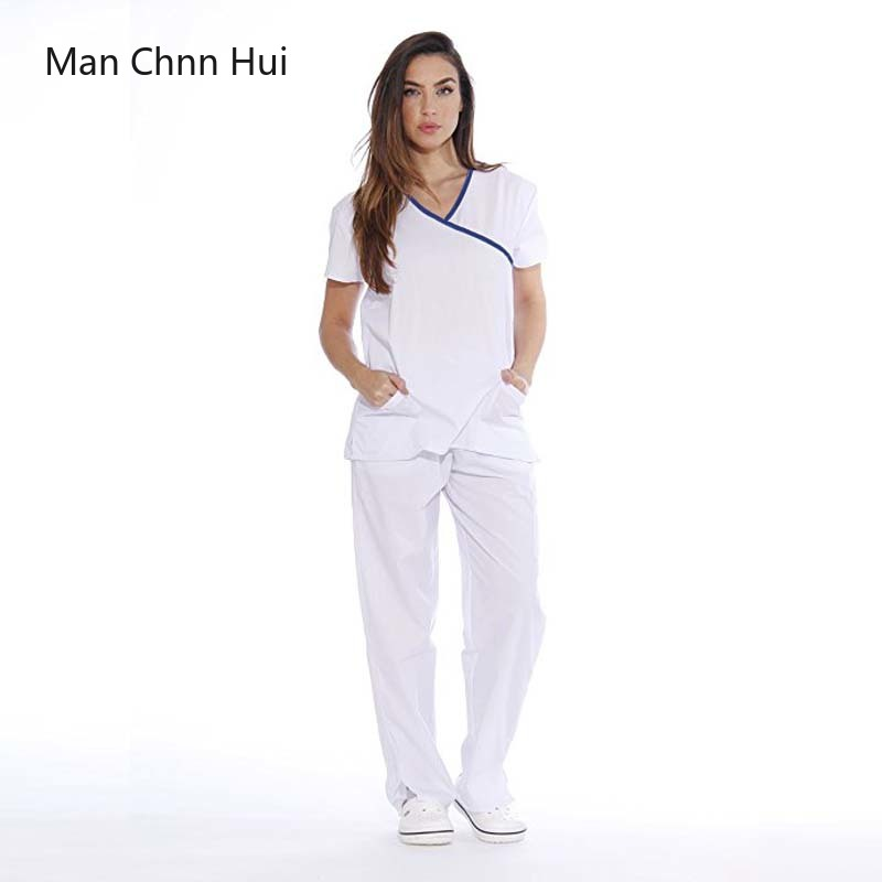 Medical Suit Female Short Sleeve Scrub Suits Dental Beautician Oral Pet Summer Operating Room Surgical Gown Top + Pant
