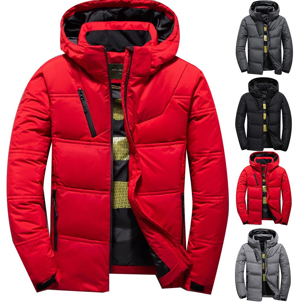 Men's Winter Solid Color Zipper Warm Hooded Down Jacket Outdoor Sport Parka Coat