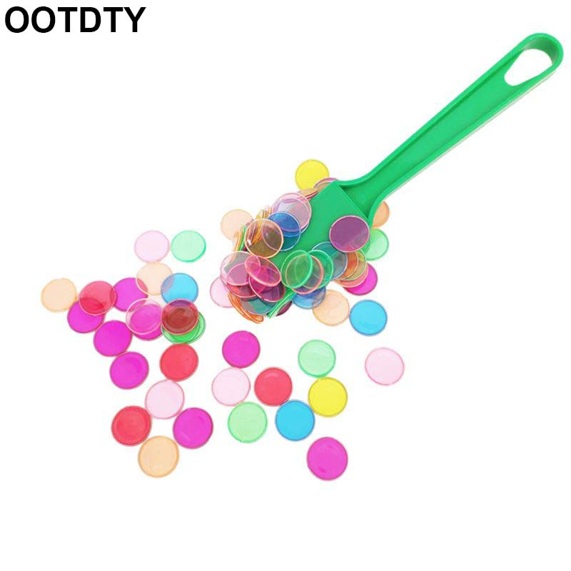 Montessori Learning 1 Set Toys Magnetic Stick Wand Set With Transparent Color Counting Chips With Metal Loop
