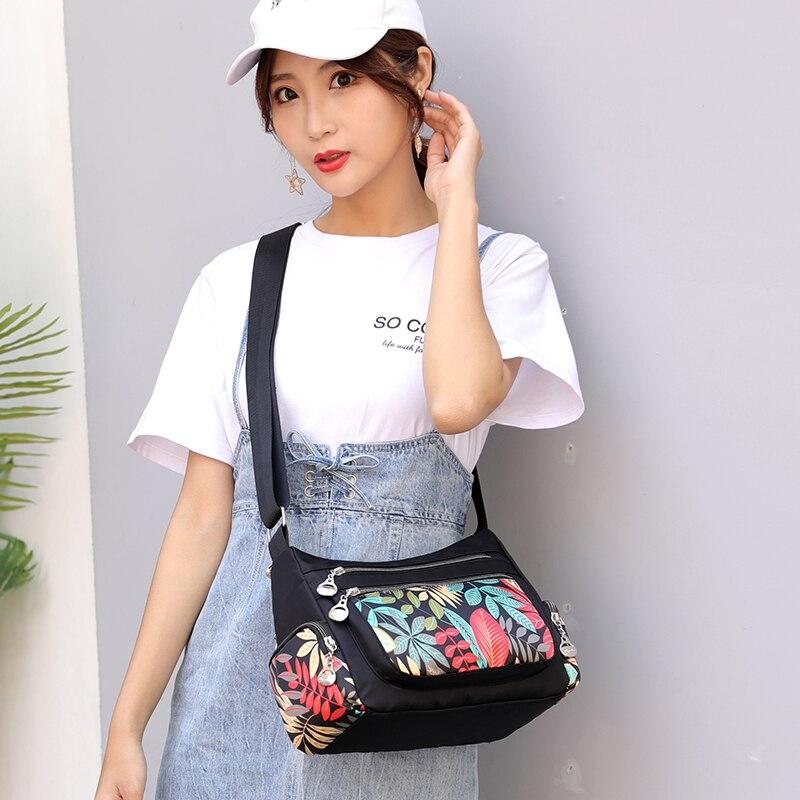 Image 5 - Fashion Cartoon Printing Bag Multi Pocket Women Shoulder Bag High Quality Waterproof Nylon Fabric Messenger Bag Female HandbagShoulder Bags   -