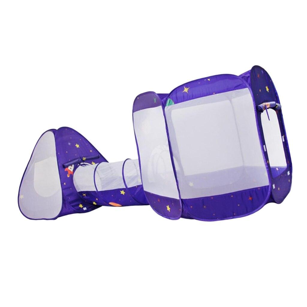 3 в 1 детская игровая палатка с туннель, быстрый складной дизайн шариками палатка с сумкой для хранения на молнии - 2