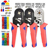 أدوات تجعيد محطة أنبوبي كماشة كهربائية صغيرة HSC8 10SA 0.25-10mm2 23-7AWG 6-4A/6-6A 0.25-6mm2 مجموعة مشابك عالية الدقة