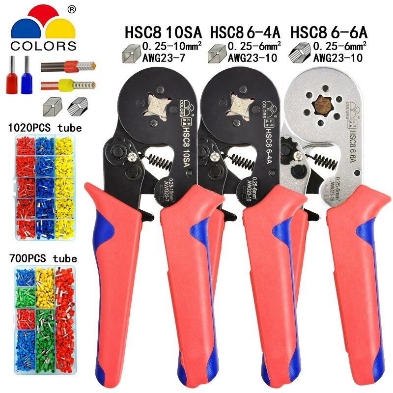 Terminal tubular friso ferramentas mini alicate elétrico hsc8 10sa 0.25-10mm2 23-7awg 6-4a/6-6a 0.25-6mm2 braçadeira de alta precisão conjunto
