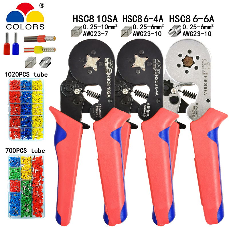Tubular terminal crimping tools mini electrical pliers HSC8 10SA 0.25-10mm2 23-7AWG 6-4A/6-6A 0.25-6mm2 high precision clamp set