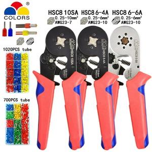 Tubular terminal crimping tools mini electrical pliers HSC8 10SA 0.25-10mm2 23-7AWG 6-4A/6-6A 0.25-6mm2 high precision clamp set(China)