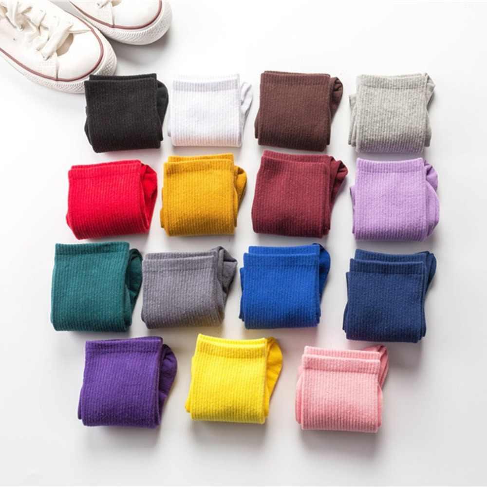 Thời trang Ống Dài Đôi Tất Cotton Nam Nữ Thoáng Khí Ấm Ván Trượt Thể Thao Chaussettes Femmes Sinh Viên Tất