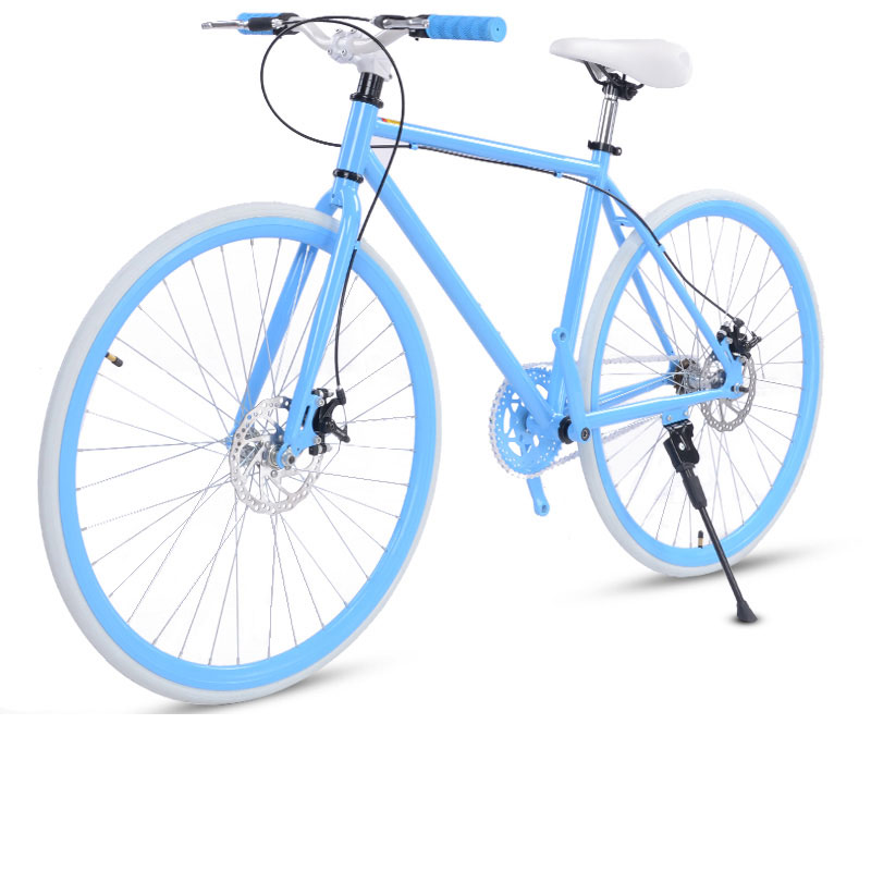 Road Bike Fixed Gear Double Disc Brakes Men And Women Fluorescent Bicycle Adult Students Cool Off Road