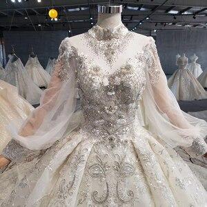 Image 4 - Htl1075 겸손한 웨딩 드레스 우아한 높은 목 레이스 다시 크리스탈 구슬 긴 소매 레이스 웨딩 드레스 럭셔리 suknia 2020 lubna