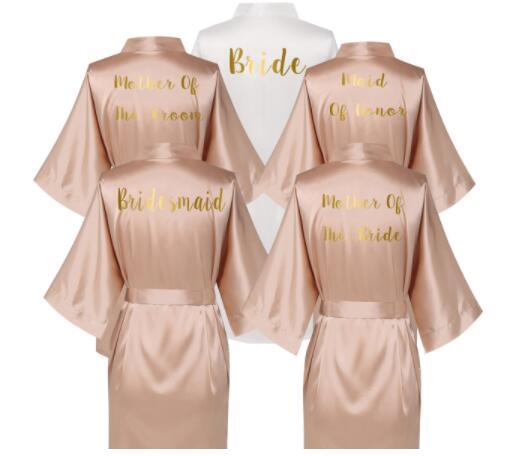 Rose Gold Satin Silk bride robe Wedding Robe Bridesmaid Bride Dressing Gown bridesmaid robes(China)