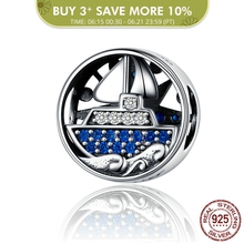 BAMOER Compass Round Metal Beads for Women Bracelet Bangle 925 Sterling Silver Zirconia Ship Charm for Silver Bracelet SCC1197 цена 2017