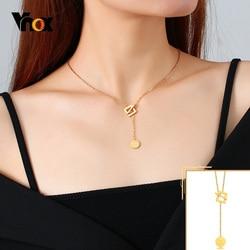 Vnox Sexy Y naszyjnik dla kobiet, złoty kolor wisiorek w kształcie monety ze stali nierdzewnej, powodzenia Fortune minimalistyczny Chic kwadrat geometryczny kołnierz