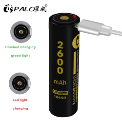 PALO USB 3.7V 18650 2600mAh Li-ion akumulator na USB do latarki z lampka kontrolna led dc-ładowanie