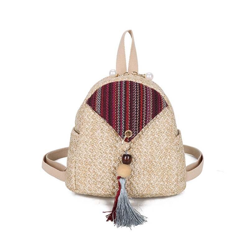 5PCS / LOT New Women Fashion Straw Knitting Backpack Ladies Female Travel Holiday Tassel Zipper Small