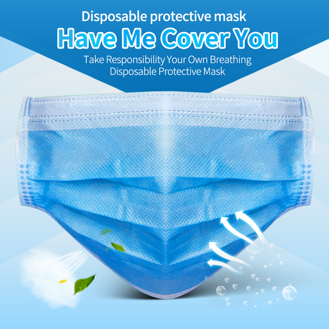 100 Pcs Face Mouth Mask 3-Ply  Disposable Non-woven Masks Anti-Pollution filter safe Breathable Mask Protect Mascherine Mascara 1