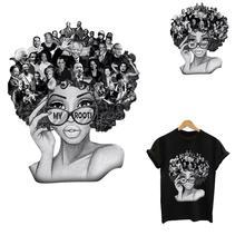 Термонаклейки для одежды наклейки черные женские мои корни железа