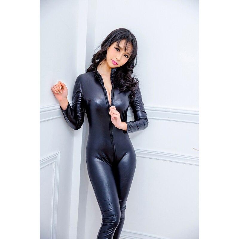 Macacão feminino sensual couro falso látex, blusa lisa aparência molhada uniforme tentação body com zíper frontal elástico preto pu