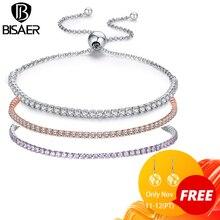 [Adicionar ao carrinho ganhar presente] cintilante tênis pulseira strand pulseiras para mulher luxo original prata esterlina gxb029 natal