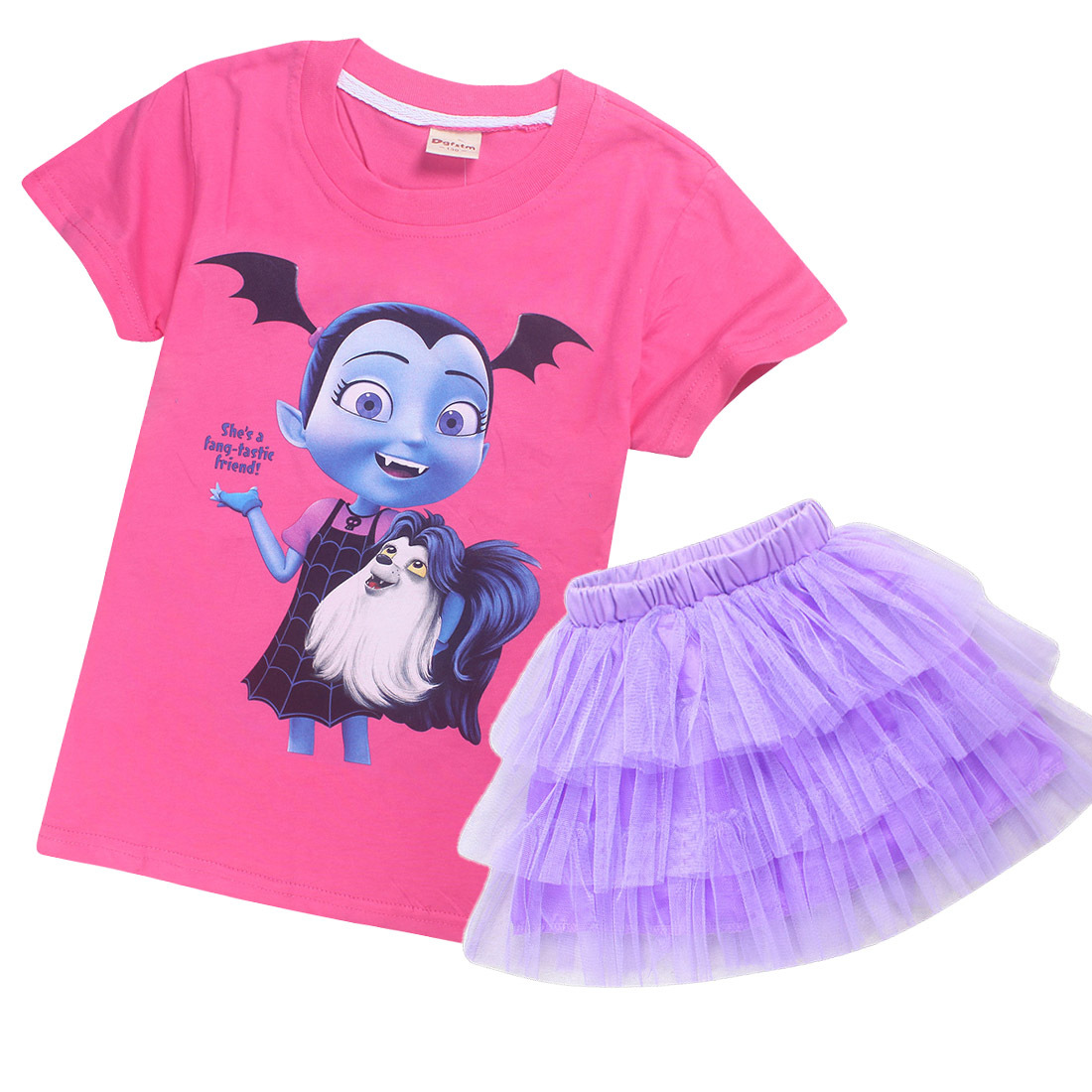 Girls Vampirina Princess Party Dress Tutu Skirt+T-Shirt Summer casual 2pcs set