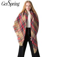 GETSPRING Frauen Schal Quaste Wolle Mode Designer Marke Luxus Frauen Weiß Grau Plaid Herbst Winter Frauen Schals 2019 Mode(China)