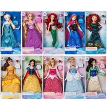 Disney store oryginalna księżniczka roszpunka Ariel Elsa Anna Aurora kopciuszek Belle klasyczne lalki zabawki dla dzieci prezent na boże narodzenie tanie tanio 3 lat Zapas rzeczy Winylu cartoon 30cm Moda Film i telewizja Unisex 1 12 Fashion doll no eat