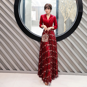 Burgundy Sexy V-Neck Oriental Party Female Sequins Stage Show Tassel Qipao Elegant Celebrity Evening Dress Banquet Dresses