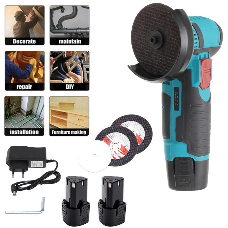 12V Cordless Mini Angle Grinder 2000W Brushless Polishing Machine Cutter Rechargeable Power Tools with Battery Charger