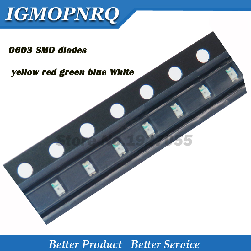 100PCS Superior 0603 SMD LED Light Yellow Red Green Blue White 0603 Smd (leds)