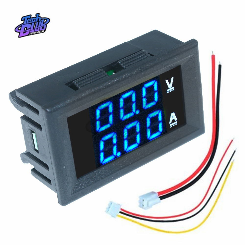 DC 0- 100V Mini Digital Voltmeter 10A Panel Amp Volt Voltage Current Meter Tester Detector LED Display Auto Car Red Blue Green