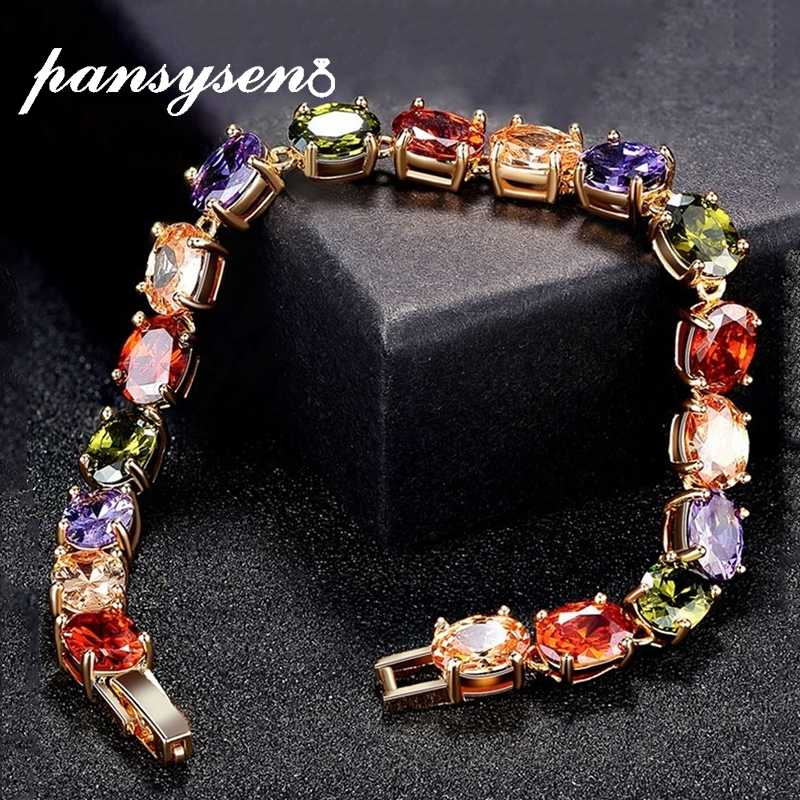 PANSYSEN 17CM Charms Ruby Amethyst Peridot Gemstone 925 Sterling Silver Jewelry Bracelets for Women Fashion Bracelet Party Gifts