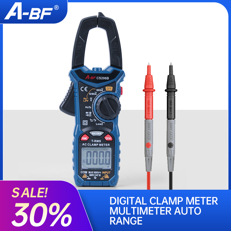 Digital Clamp Meter Multimeter Auto Range A-BF CS206B/CS206D Current Voltage Temp Capacitor Tester True RMS AC/DC MAX/MIN NCV