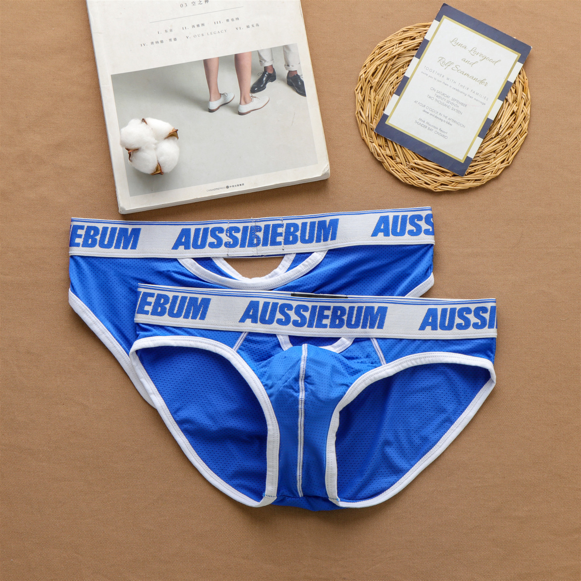 Men's sexy front and back small hollow panties tide comfortable breathable triangle pants aussiebum 2