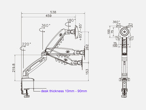 """Image 2 - 2019 NEW NB F80 Desktop17 27"""" LCD LED Monitor Holder Arm Gas Spring Full Motion Gas Strut Flexi TV Mount Loading 2 9kgs"""