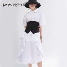 TWOTWINSTYLE Casual Loose Dress Women Lapel Collar Short Sleeve High Waist Side