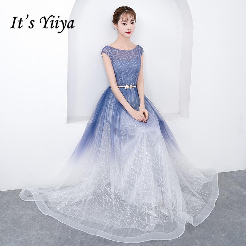It's Yiiya Elegant Evening Dresses Long O-neck Sleeveless Formal Gowns Purple Special Occasion Dresses Vestido For Women K238
