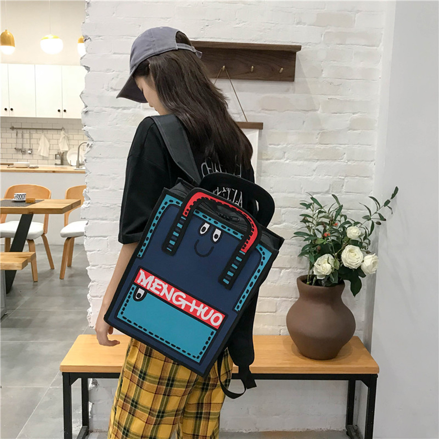 Cute Anime Panelled Bookbags Women Harajuku Backpack Cartoon Print School Bags For Girls High Quality Women Travel Backpacks New in Backpacks from Luggage Bags