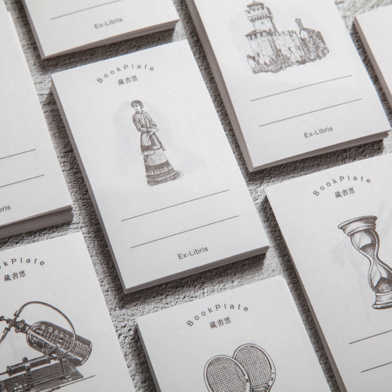 60 Pcs Vintage Bookplate Series Paper Mini Greeting Card Memo Pad Postcard Letter Envelope DIY Decoration Message LOMO Cards