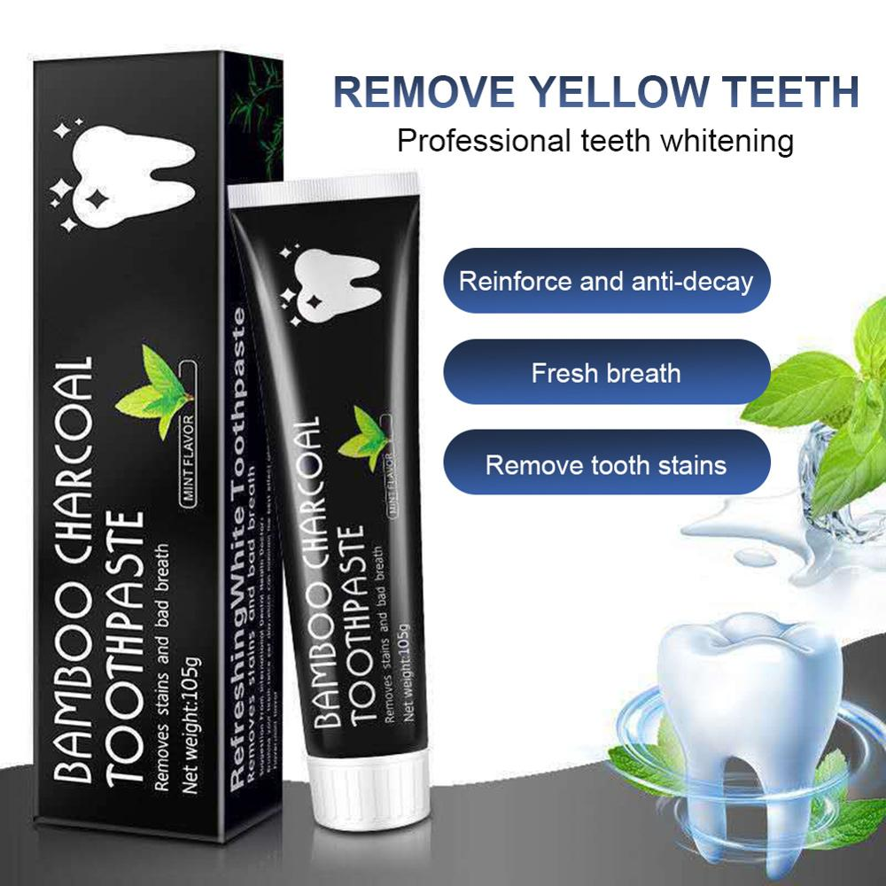 Toothpaste Bamboo Charcoal Teeth Whitening Toothpaste for Bad Breath Stains Natural Ingredients Adults Teeth Cleaning Oral Care