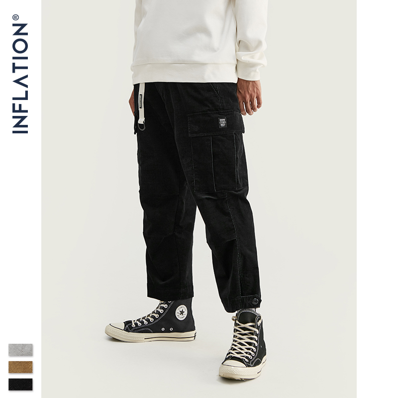 INFLATION 2020 Collection Men Corduroy Loose Fit Overalls Solid Color Men Corduroy Winter Casual Streetwear Pants 93323W